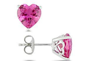 Sterling Silver 4-1/2 CT TGW Created Pink Sapphire Stud Earrings