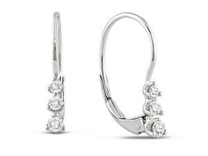 1/4 CT TDW Diamond Three-Stone Leverback Earrings in 10K White Gold