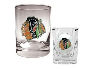 Great American Products Chicago Blackhawks NHL Rocks Glass & Square Shot Glass Set - Primary Logo