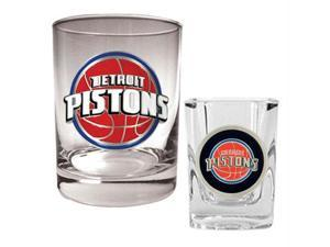 Great American Products Detroit Pistons NBA Rocks Glass & Square Shot Glass Set - Primary Logo