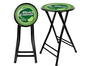 Bud Light Lime 24 Inch Cushioned Folding Stool - Black