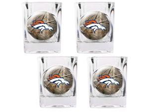 Great American Products GAP-RTGSSCPK2013-35 Denver Broncos NFL Open Field 4pc Square Shot Glass Set