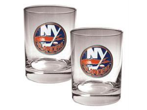 Great American Products New York Islanders NHL 2pc Rocks Glass Set - Primary Logo