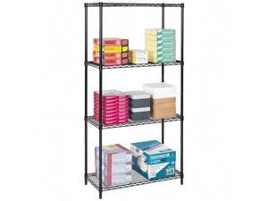Safco 5285BL 18 x 36 Inch Wire Shelving Starter Unit in Black