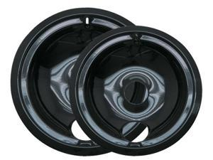 Range Kleen P139402XCD5  2 Pk 6 In and 8 in Black Porcelain Drip Pans