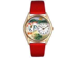 Rooster Red Leather And Goldtone Watch #C0110004