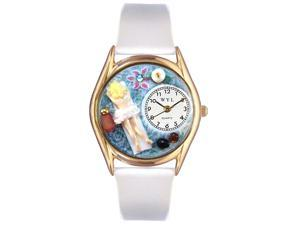 Massage Therapist White Leather And Goldtone Watch #C0630011