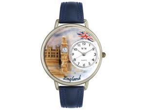 England Navy Blue Leather And Silvertone Watch #U1420002