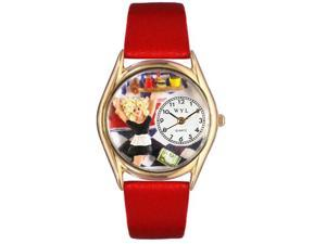 Waitress Red Leather And Goldtone Watch #C0630013