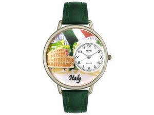 Italy Hunter Green Leather And Silvertone Watch #U1420005