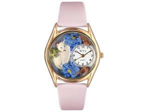 White Cat Pink Leather And Goldtone Watch #C0120002