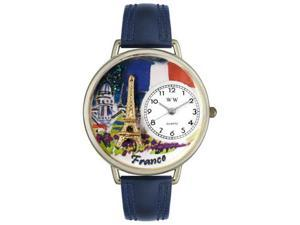 France Navy Blue Leather And Silvertone Watch #U1420006