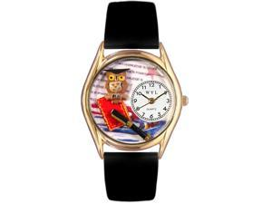 Knowledge Is Power Black Leather And Goldtone Watch #C0640006