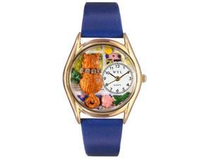 Aristo Cat Royal Blue Leather And Goldtone Watch #C0120007