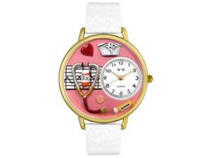 Nurse Red White Skin Leather And Goldtone Watch #G0620040