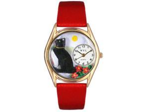 Basking Cat Yellow Leather And Goldtone Watch #C0120009