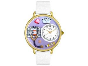 Nurse Purple White Skin Leather And Goldtone Watch #G0620042