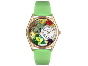 Frogs Green Leather And Goldtone Watch #C0140003