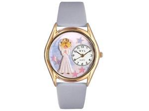 Angel Baby Blue Leather And Goldtone Watch #C0710005