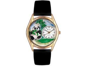 Panda Bear Black Leather And Goldtone Watch #C0150001