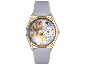 Angel with Harp Baby Blue Leather And Goldtone Watch #C0710009