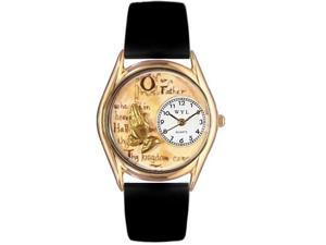 Lord's Prayer Black Leather And Goldtone Watch #C0710010