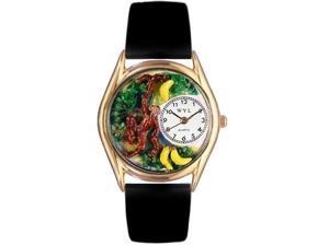 Monkey Black Leather And Goldtone Watch #C0150007
