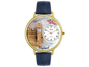 England Navy Blue Leather And Goldtone Watch #G1420002
