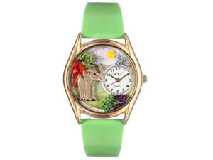 Elephant Green Leather And Goldtone Watch #C0150013