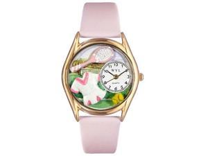 Tennis Female Pink Leather And Goldtone Watch #C0810015