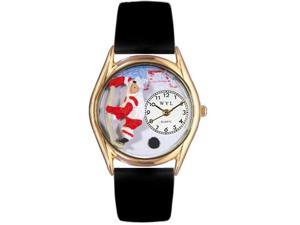 Hockey Black Leather And Goldtone Watch #C0820002