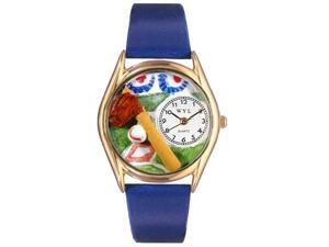 Baseball Royal Blue Leather And Goldtone Watch #C0820004