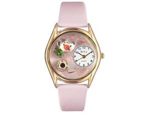 Tea Roses Pink Leather And Goldtone Watch #C0310003