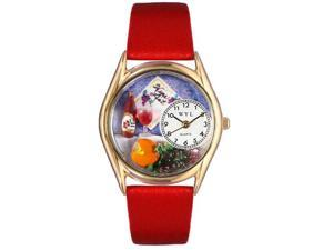 Wine & Cheese Red Leather And Goldtone Watch #C0310004