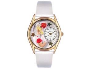 Cheerleader White Leather And Goldtone Watch #C0820013