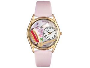 Pastries Pink Leather And Goldtone Watch #C0310009