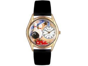 Bowling Black Leather And Goldtone Watch #C0820017