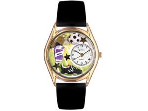 Soccer Black Leather And Goldtone Watch #C0820020