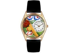 Softball Black Skin Leather And Goldtone Watch #C0820023