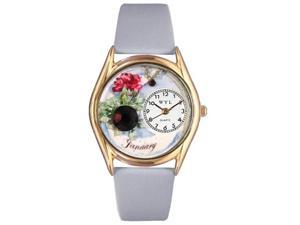 Birthstone: January Baby Blue Leather And Goldtone Watch #C0910001
