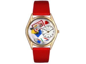 Scrapbook Red Leather And Goldtone Watch #C0410002