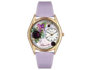 Birthstone: February Purple Leather And Goldtone Watch #C0910002