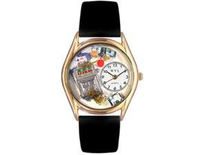 Casino Black Leather And Goldtone Watch #C0420002