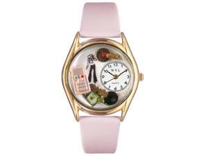 Teen Girl Pink Leather And Goldtone Watch #C0420004