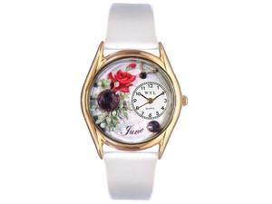 Birthstone: June White Leather And Goldtone Watch #C0910006