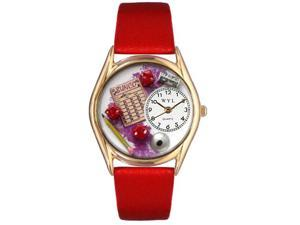 Bunco Red Leather And Goldtone Watch #C0430001