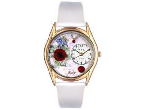 Birthstone: July White Leather And Goldtone Watch #C0910007
