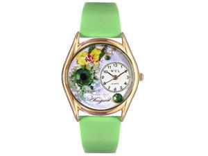 Birthstone: August Green Leather And Goldtone Watch #C0910008
