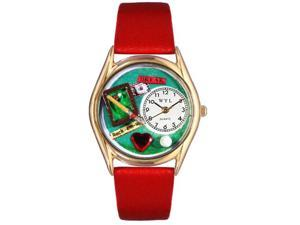 Billiards Red Leather And Goldtone Watch #C0430007