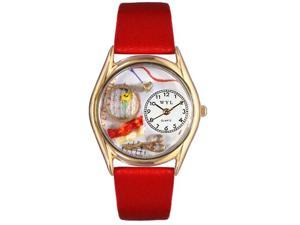 Needlepoint Red Leather And Goldtone Watch #C0440001